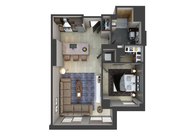 A 3D rendering of the A7 floor plan