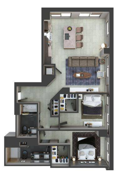 A 2D drawing of the PH5 floor plan