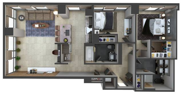A 2D drawing of the PH7 floor plan