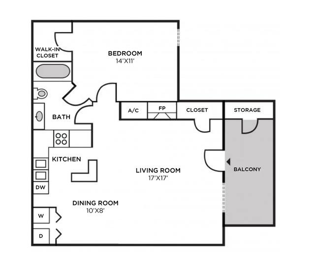 A 2D drawing of the Manchester Classic Interior floor plan