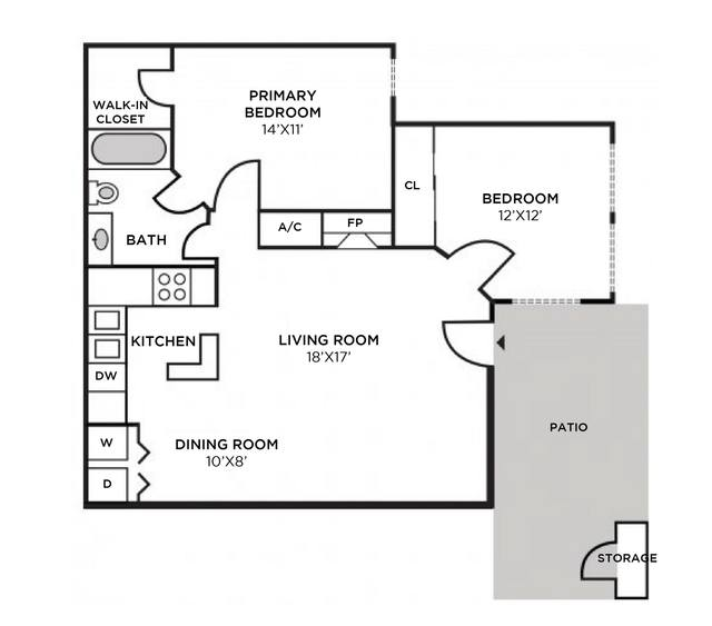 A 2D drawing of the Providence Renovated Interior floor plan