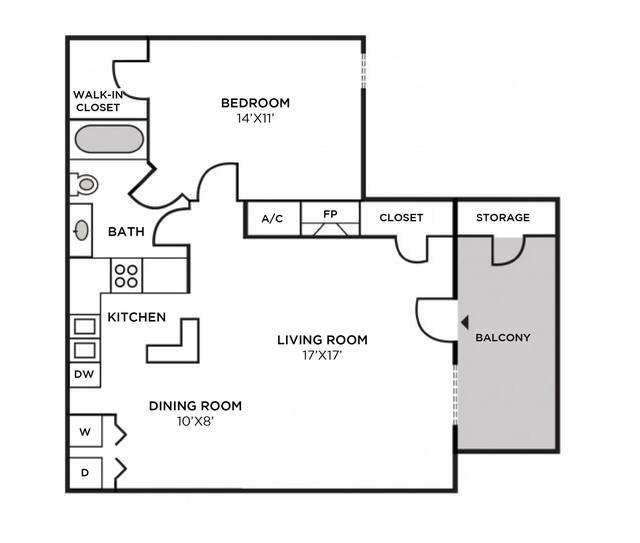 A 2D drawing of the Manchester Renovated Interior floor plan