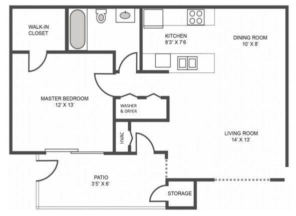 A 2D drawing of the Wynward Renovated floor plan