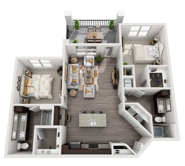 A 3D rendering of the B3 floor plan