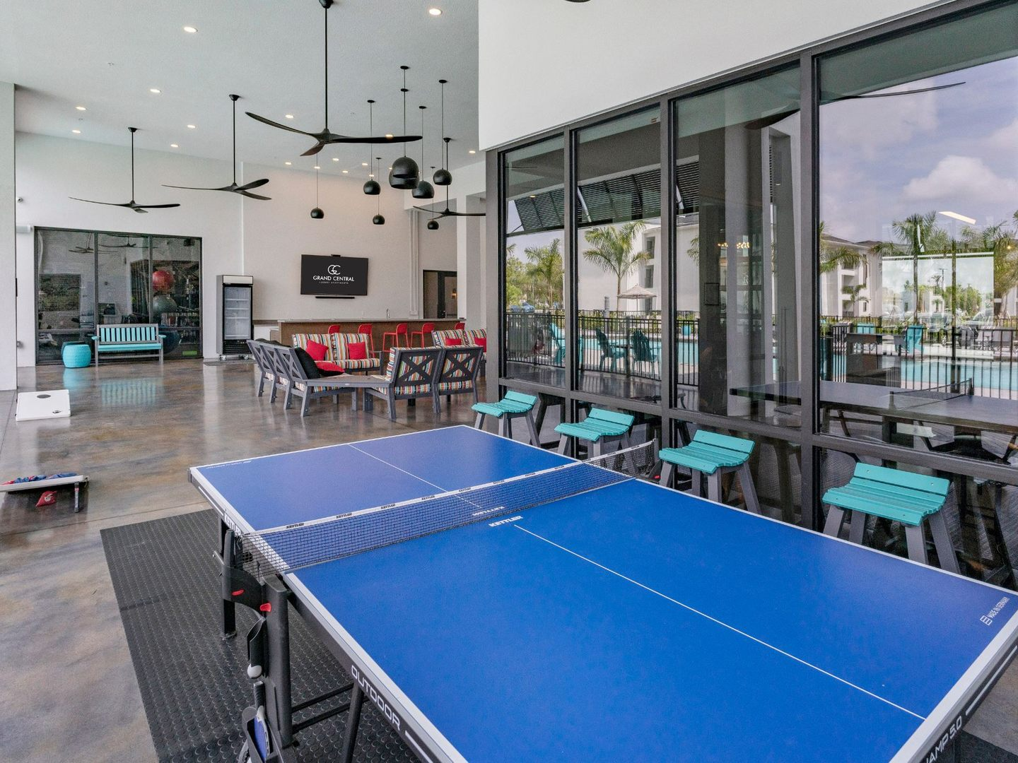 Ping pong table in clubhouse