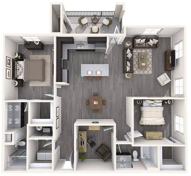 A 3D rendering of the C1 floor plan
