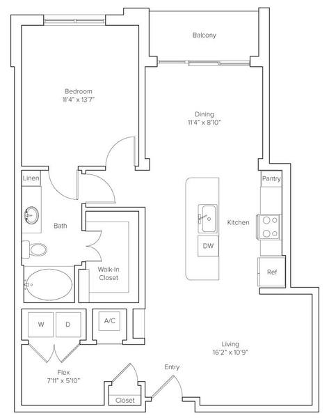 A 2D drawing of the Mitchell floor plan