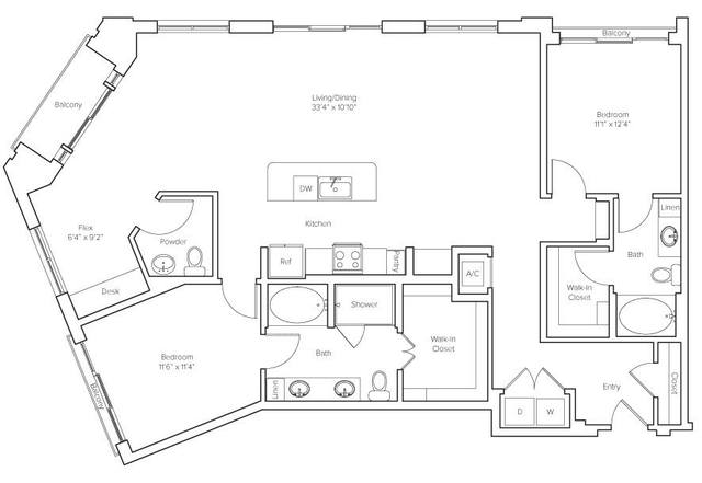 A 2D drawing of the Montclair floor plan