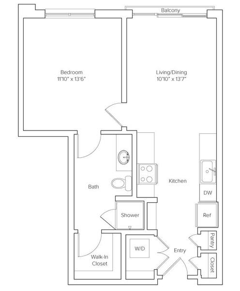 A 2D drawing of the Gramercy floor plan