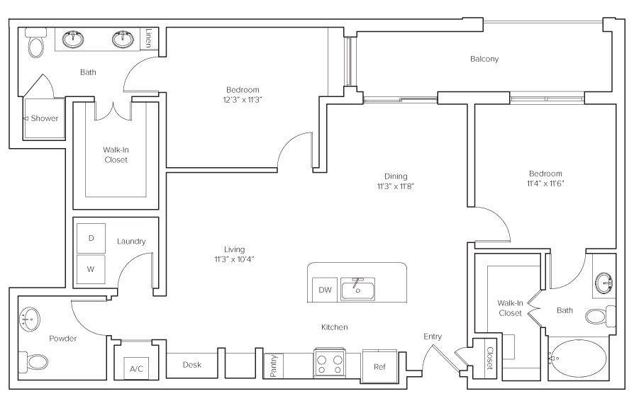 A 2D drawing of the Underwood floor plan