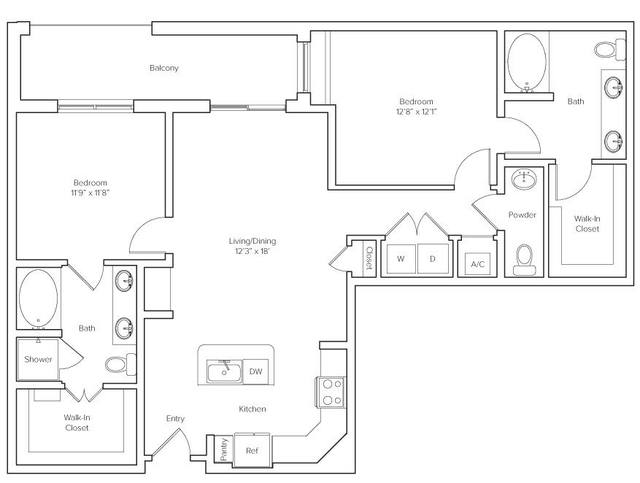 A 2D drawing of the Holcombe floor plan