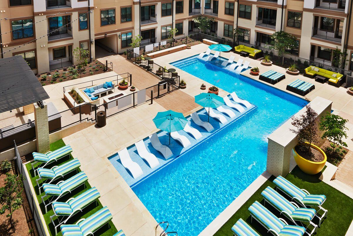 Overhead view of swimming pool and outdoor lounge area
