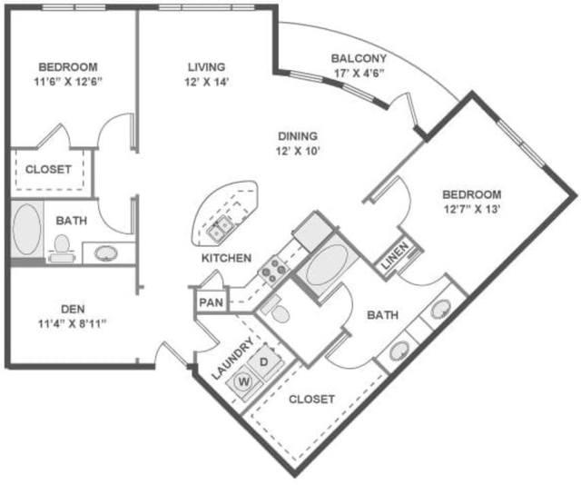 A 2D drawing of the Overture floor plan