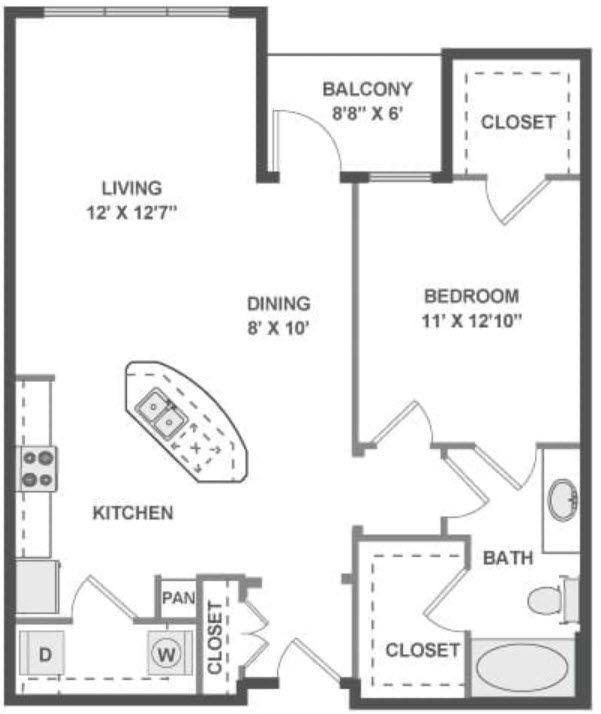 A 2D drawing of the Tempo floor plan