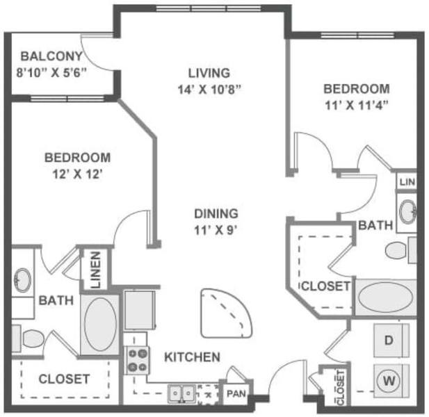 A 2D drawing of the Waltz floor plan