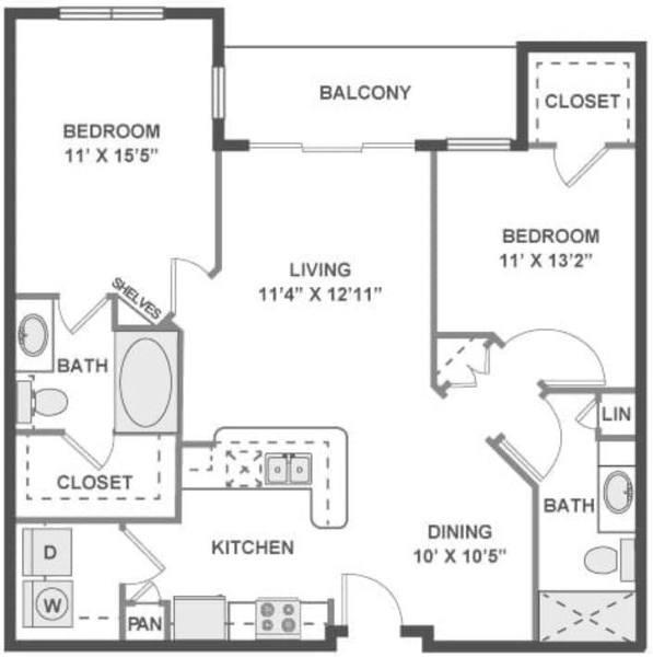 A 2D drawing of the Medley floor plan