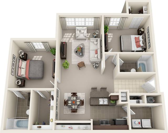 A 3D rendering of the 2 Bed 2 Bath floorplan
