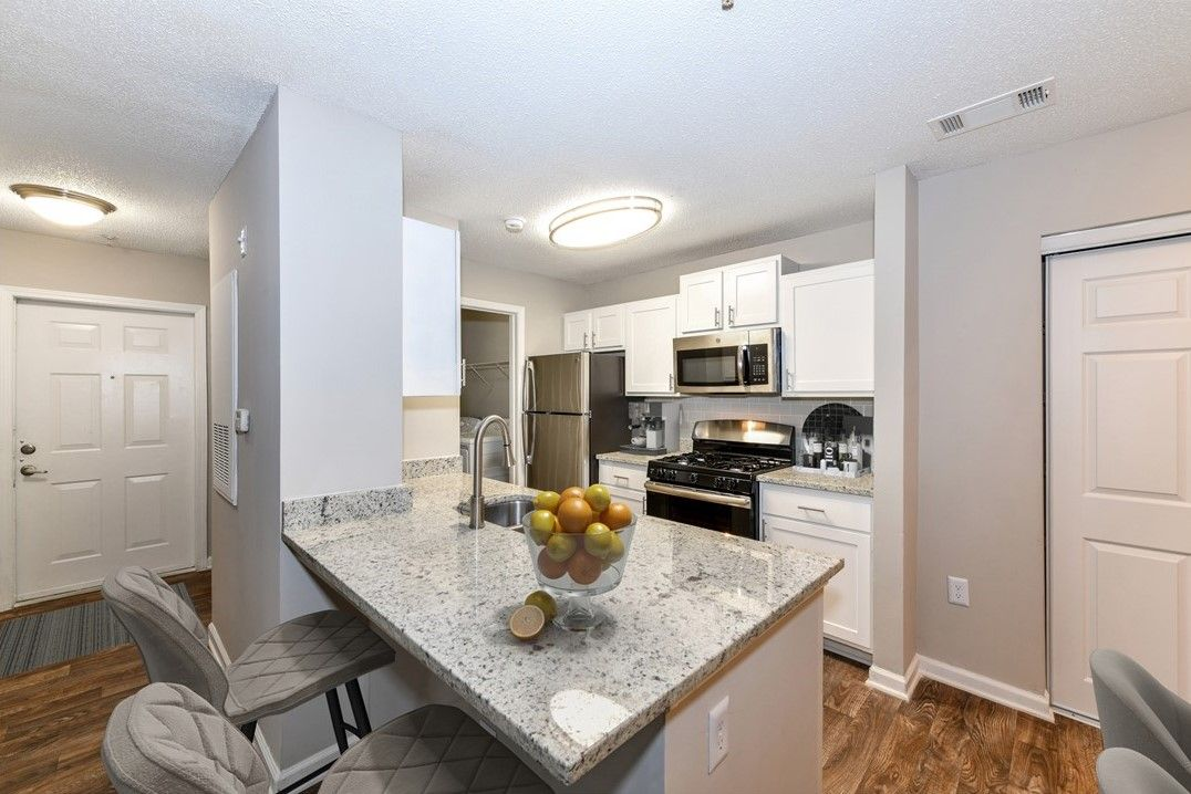 apartment kitchen with citrus fruits on counter