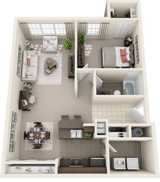 A 3D rendering of the 1 Bed 1 Bath Renovated floor plan