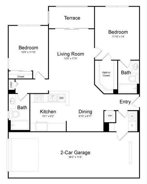 A 2D drawing of the Delray floor plan