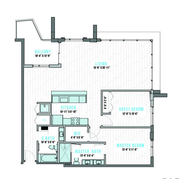 A 2D drawing of the T-16 floor plan