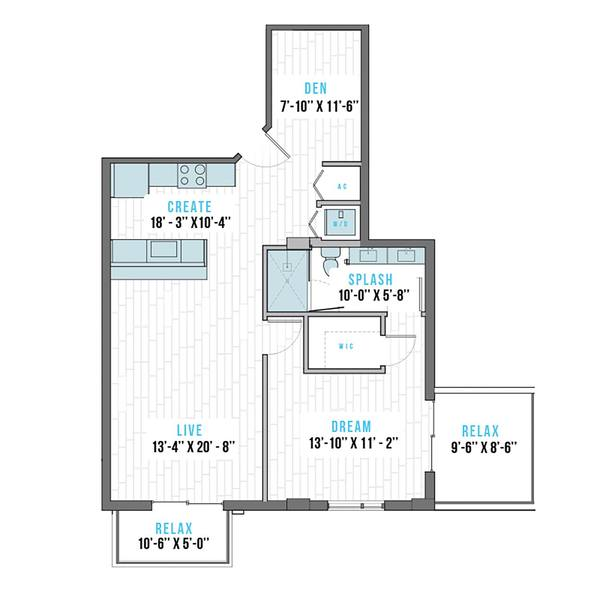A 2D drawing of the R-3 floor plan