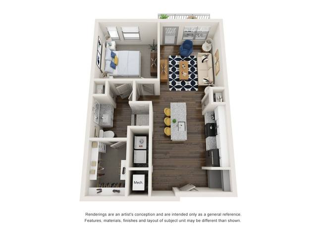 A 2D drawing of the A1.1 floor plan