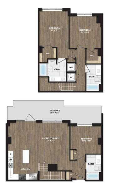 A 2D drawing of the C05a TH floor plan