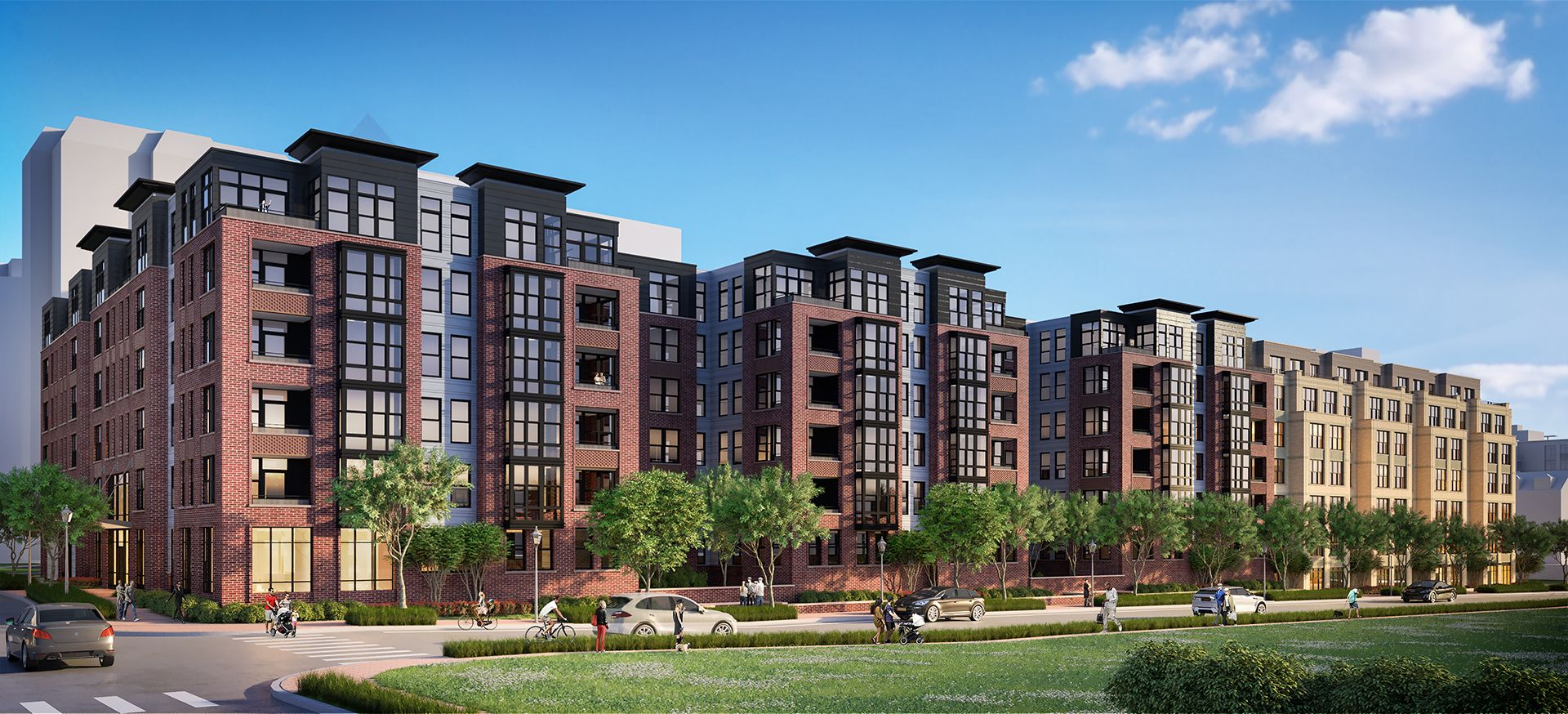 Rendering of exterior of apartment building