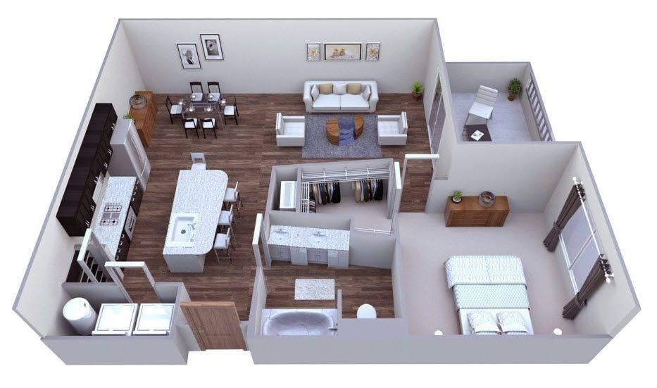 A 3D rendering of the Saddlebrook floor plan