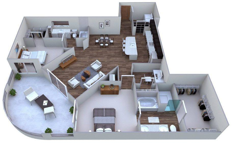 A 3D rendering of the Griffin floor plan
