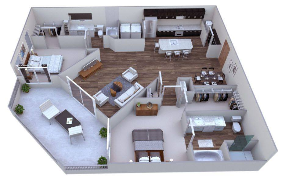 A 3D rendering of the Midtown floor plan