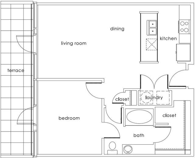 A 2D drawing of the A2 Main floor plan