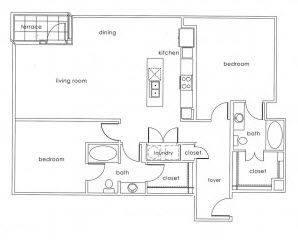 A 2D drawing of the B2 Main floor plan