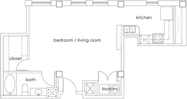A 2D drawing of the E2 Gulf States floor plan
