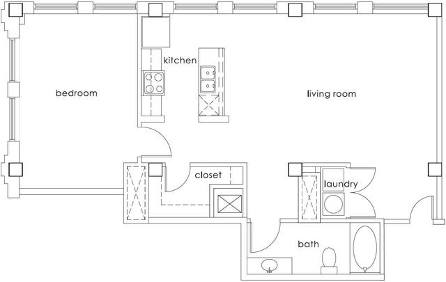 A 2D drawing of the A5 Gulf States floor plan