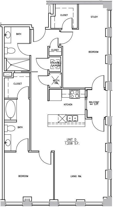 A 2D drawing of the B3 Elm floor plan