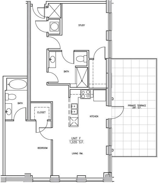 A 2D drawing of the B1 Elm floor plan