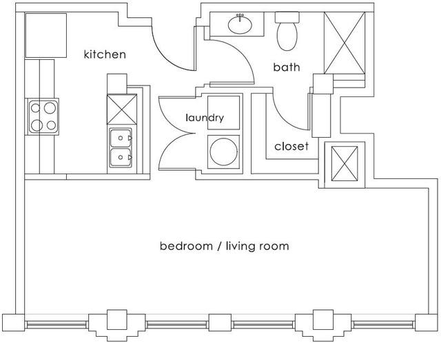 A 2D drawing of the E1 Gulf States floor plan