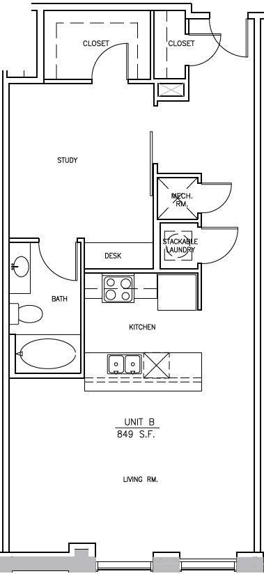 A 2D drawing of the A1 Elm floor plan