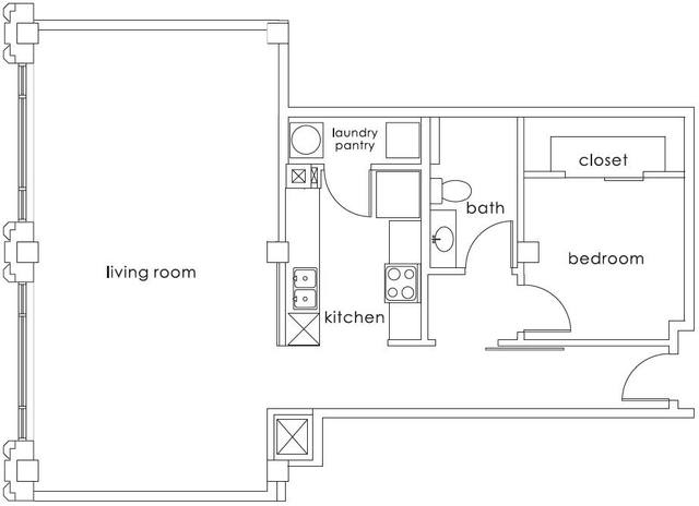A 2D drawing of the A7 Gulf States floor plan