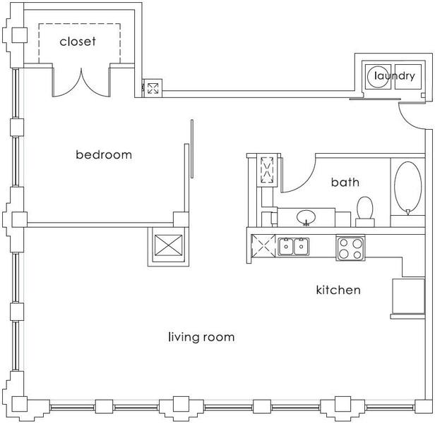 A 2D drawing of the A8 Gulf States floor plan