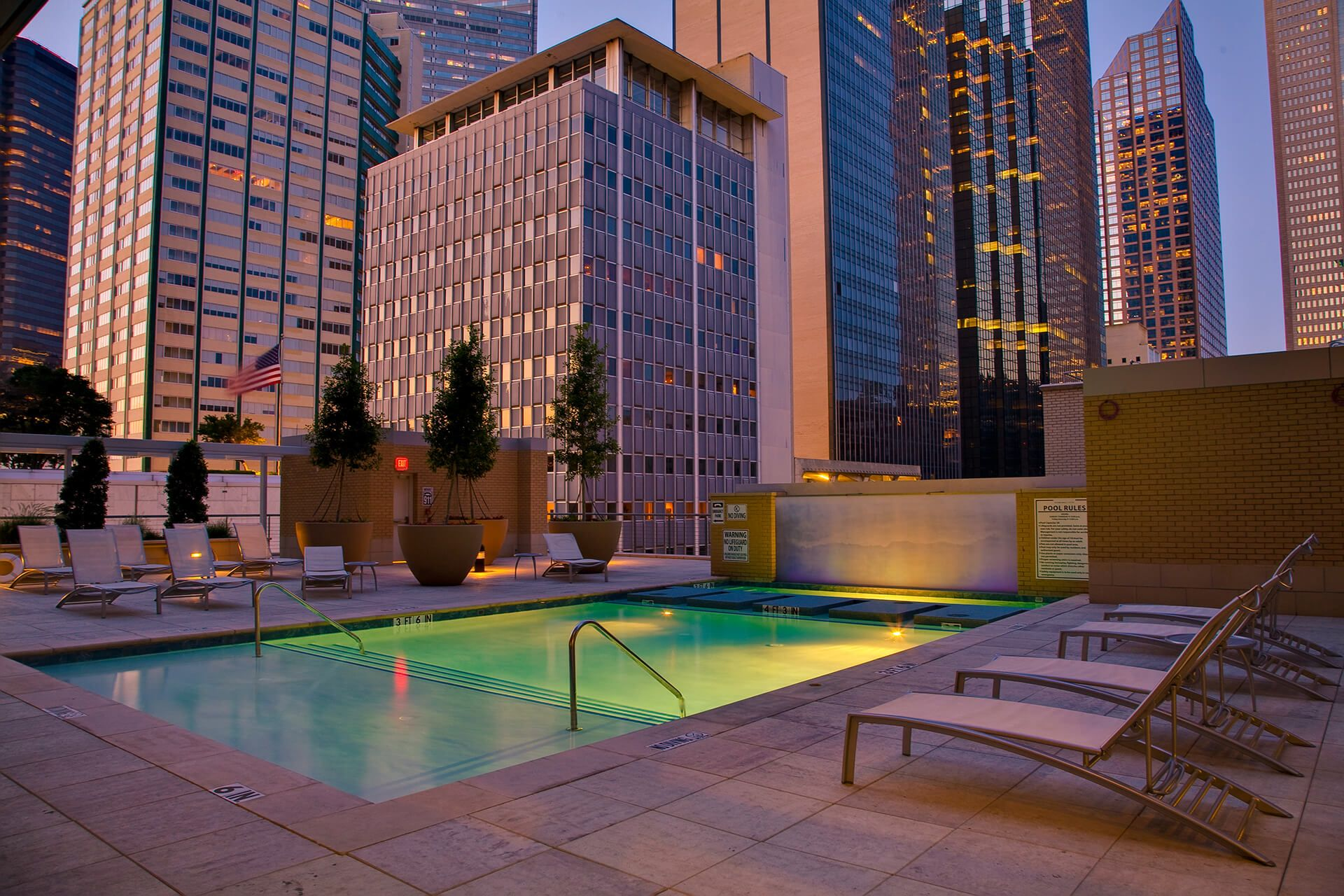 Pool and cityscape