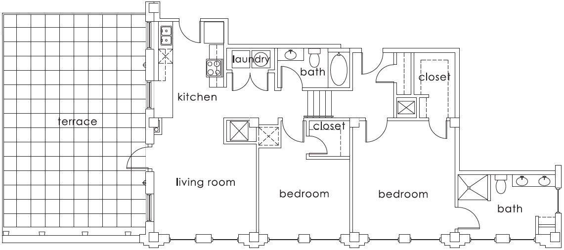 A 2D drawing of the B1 Gulf States floor plan