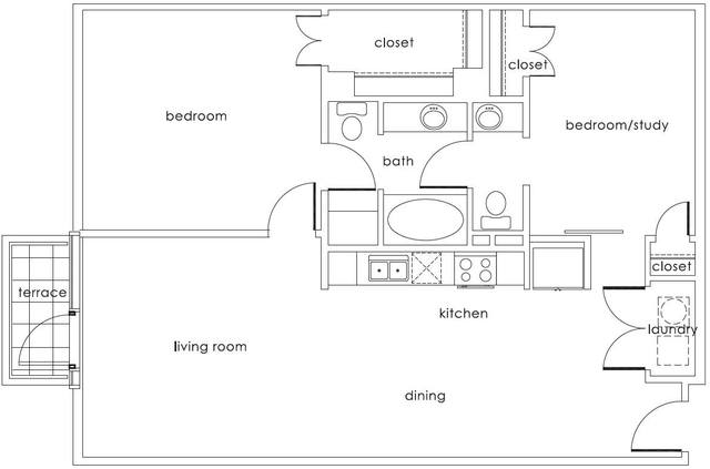 A 2D drawing of the B1 Main floor plan