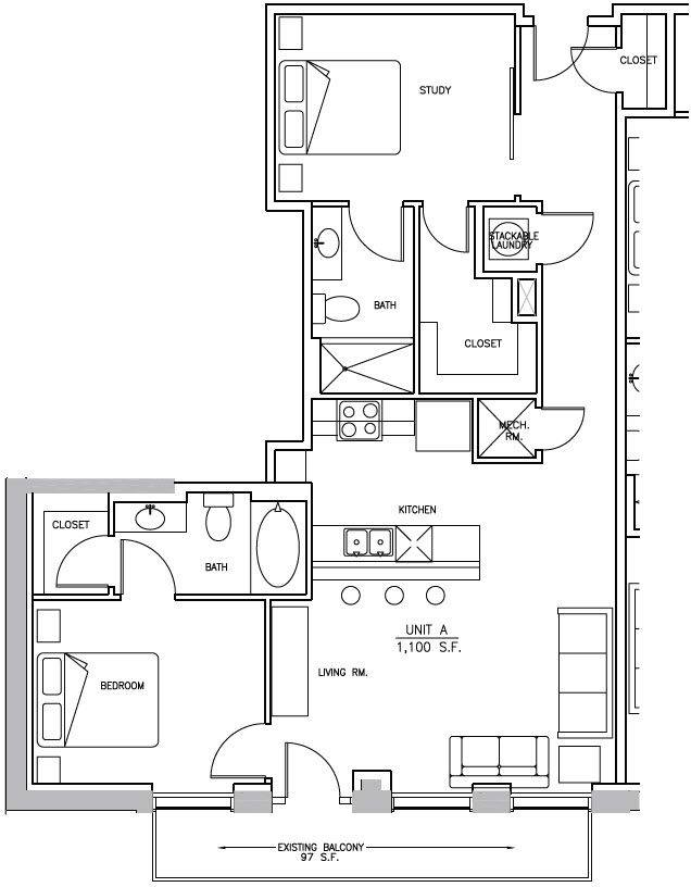 A 2D drawing of the B2 Elm floor plan