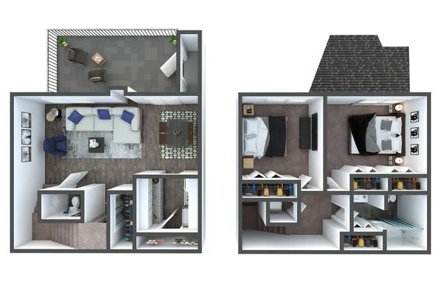 A 3D rendering of the B4 Townhome Renovated floor plan