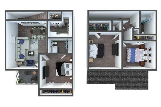 A 3D rendering of the C2 Townhome Renovated floor plan