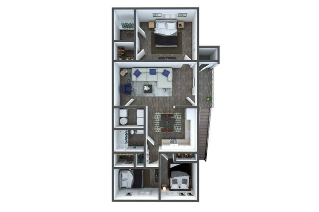 A 3D rendering of the C1 Renovated floor plan