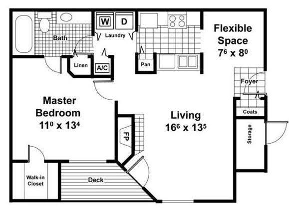 A 2D drawing of the Bayside floor plan